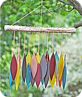 Glass Leaves Rainbow Wind Chime
