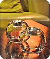 Glass Round T Light Holder - Set of 2