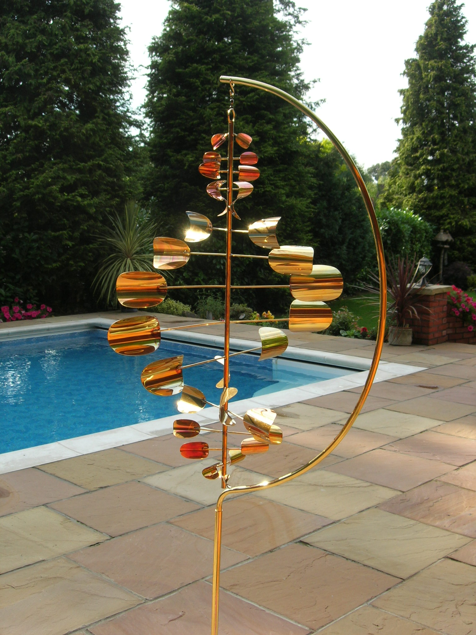 Copper wind sculpture for Outdoor wind spinners