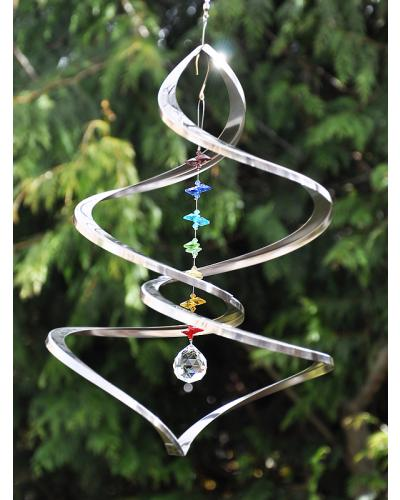 Crystal spinners garden spinners wind sculptures for Wind chain online